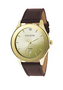 Men's Gold Tone Diamond Accent Brown Strap Watch