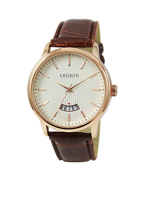 Rose Gold Brown Strap Calendar Watch