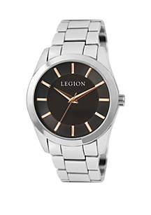 LEGION/CONCEPTS IN TIME Men's Silver Tone Black Dial Bracelet Watch