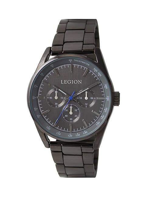 Hematite Tone Chronograph Bracelet Watch