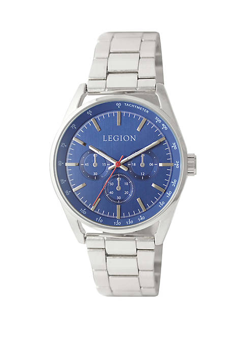 Silver Tone Chronograph Bracelet Watch