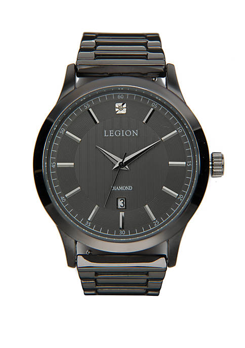 Gunmetal Diamond Dial Watch With Leather Strap
