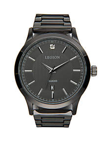 Gunmetal Diamond Dial Watch With Leather Strap