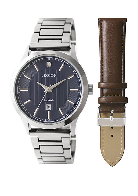 Silver Tone Diamond Accent Leather Strap Watch