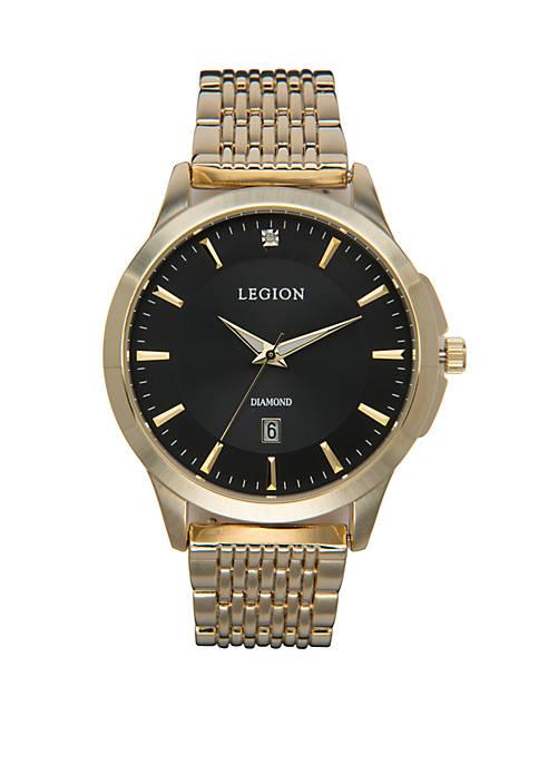 LEGION/CONCEPTS IN TIME Gold-Tone Diamond Dial Croco Strap