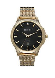 LEGION/CONCEPTS IN TIME Gold-Tone Diamond Dial Croco Strap Watch Set