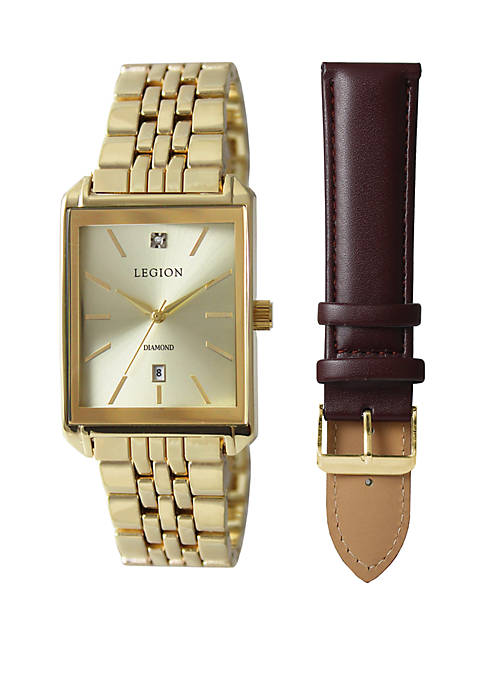 Gold-On-Gold Square Interchangeable Strap Watch