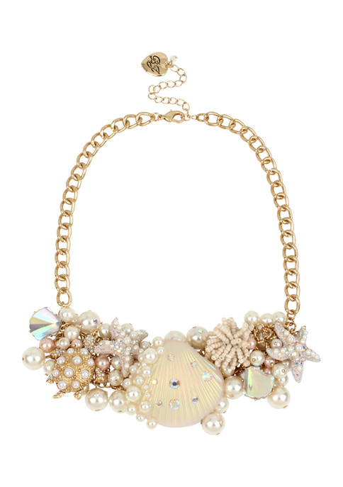 Betsey Johnson Pearl Shell Statement Necklace