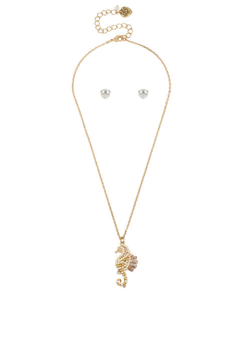 Betsey Johnson Seahorse Pendant Necklace & Pearl Stud
