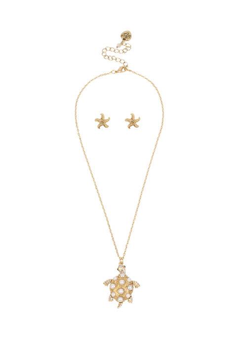 Betsey Johnson Turtle Pendant Necklace & Starfish Stud