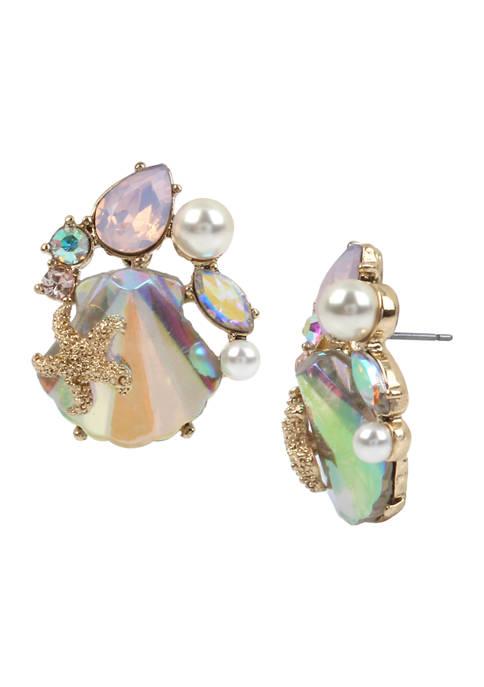 Betsey Johnson Stone Sea Shell Cluster Stud Earrings