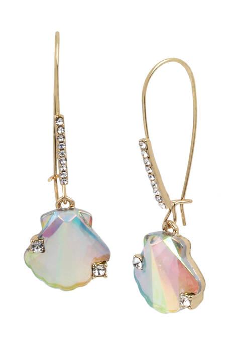 Betsey Johnson Stone Sea Shell Long Drop Earrings