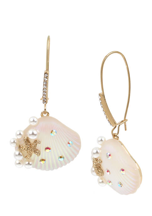 Betsey Johnson Sea Shell Long Drop Earrings