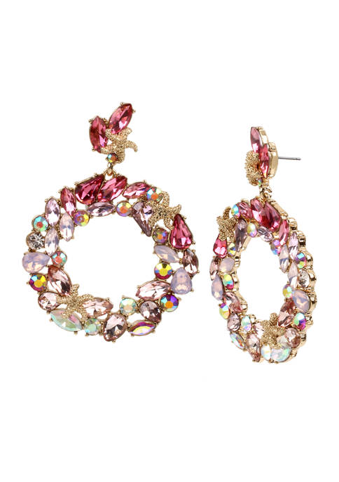 Betsey Johnson Stone Cluster Gypsy Hoop Earrings