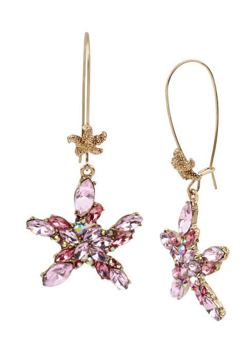 Betsey Johnson Stone Cluster Starfish Long Drop Earrings