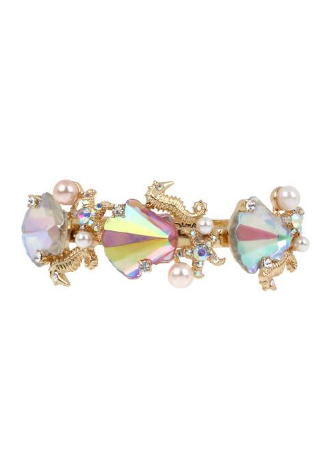 Betsey Johnson Stone Sea Shell Hinged Bangle Bracelet