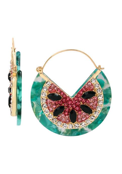 Betsey Johnson Watermelon Hoop Earrings