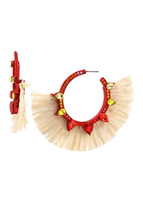 Betsey Johnson Raffia Hoop Earrings