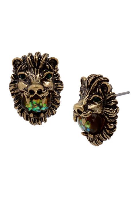 Betsey Johnson Lion Stud Earrings