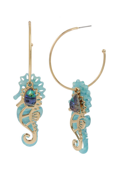 Betsey Johnson Seahorse Charm Convertible Hoop Earrings