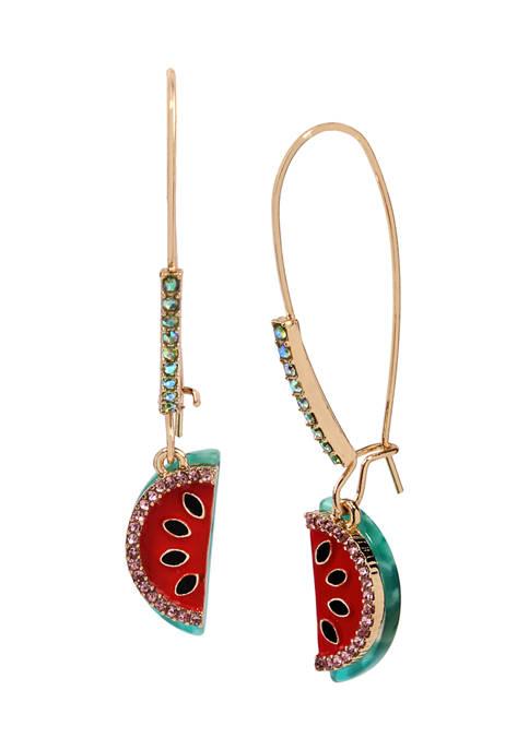 Betsey Johnson Watermelon Long Drop Earrings