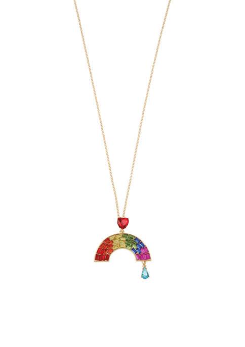 Rainbow Stone Pendant Long Necklace