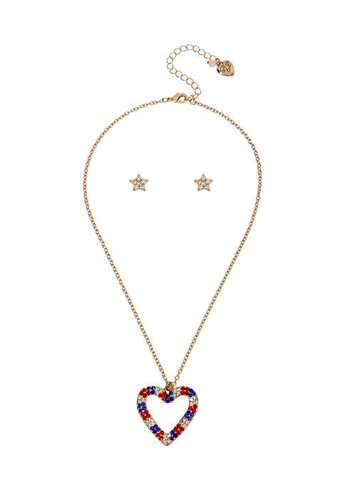 Betsey Johnson Heart Pendant & Stud Earrings Set