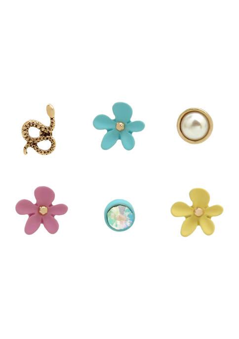 Betsey Johnson Flower Single Stud Earrings Set