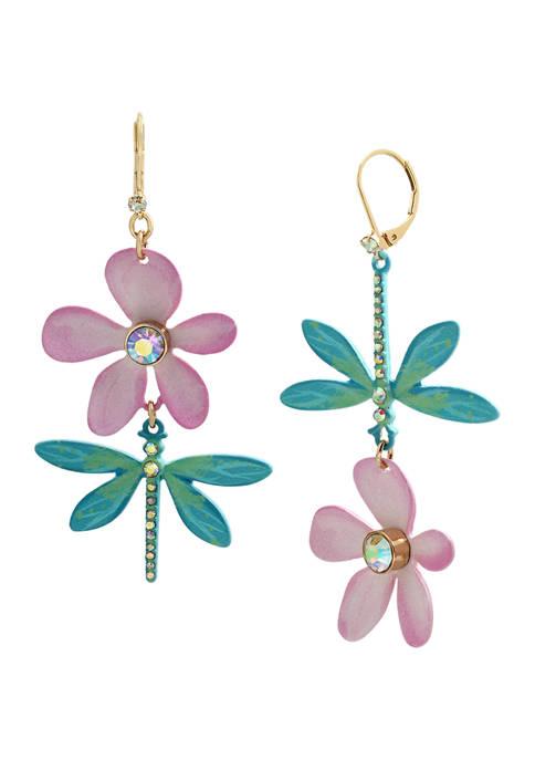 Betsey Johnson Dragonfly Mismatch Earrings