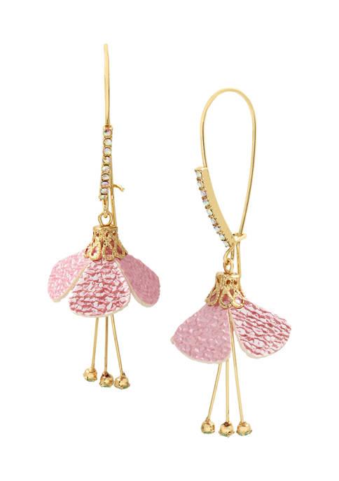 Betsey Johnson Fabric Flower Dangle Earrings