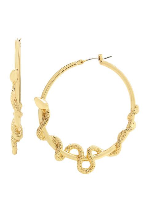 Betsey Johnson Snake Hoop Earrings