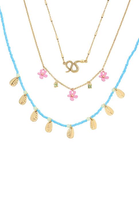 Betsey Johnson Flower Layering Necklace Set