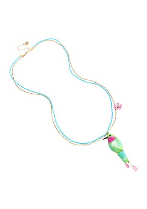 Betsey Johnson Hummingbird Pendant Long Necklace