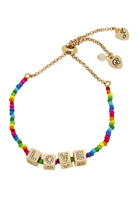Betsey Johnson Love Beaded Slider Bracelet