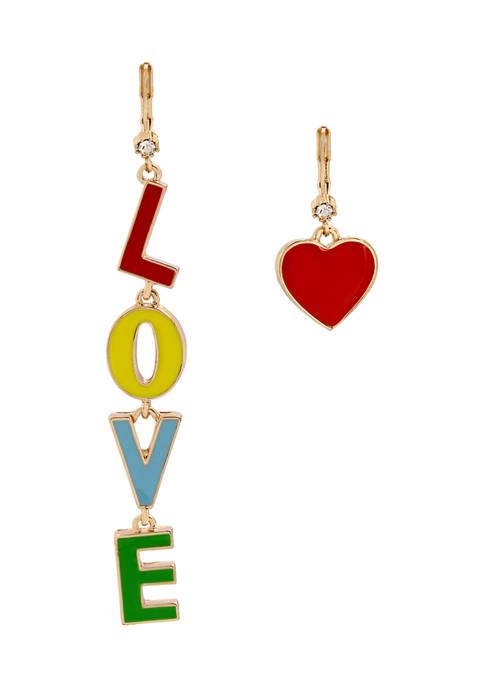 Betsey Johnson Love Mismatch Earrings