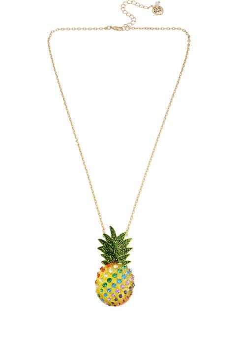 Betsey Johnson Pineapple Pendant Necklace