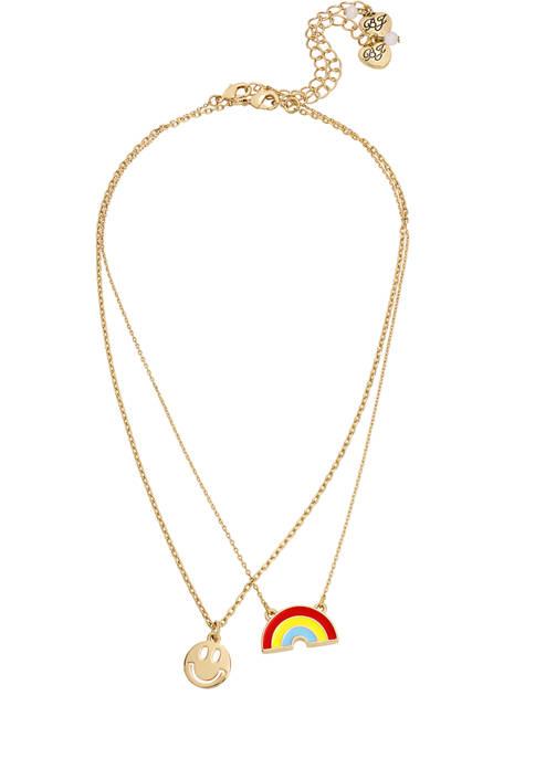 Rainbow & Smiley Pendant Necklace Set