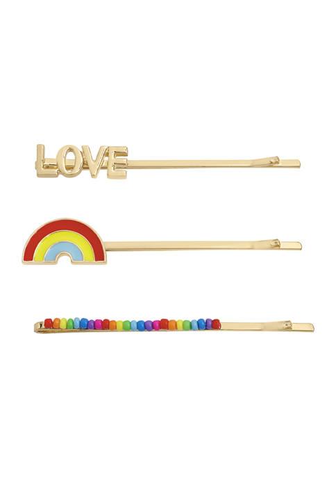 Betsey Johnson Rainbow LOVE Bobby Pin Set