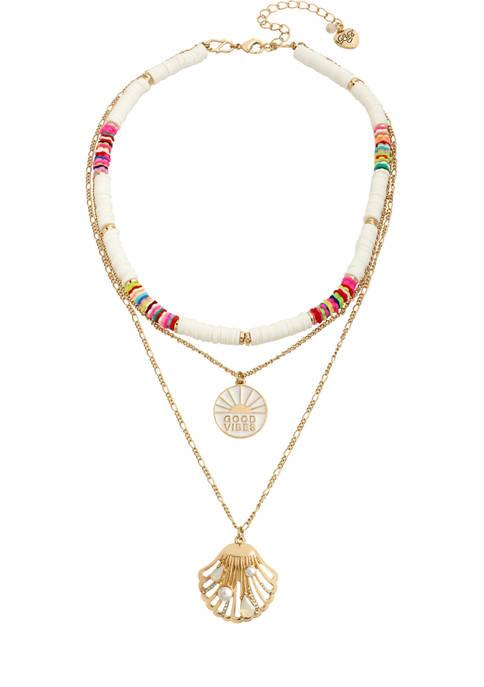 Betsey Johnson Seashell Mixed Pendant Layered Necklace