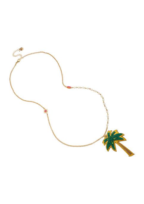 Betsey Johnson Palm Tree Pendant Long Necklace
