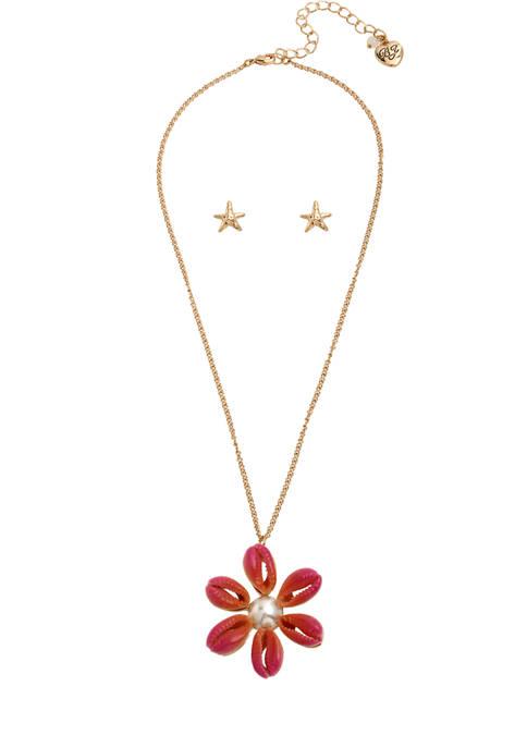 Betsey Johnson Puka Shell Flower Jewelry Set