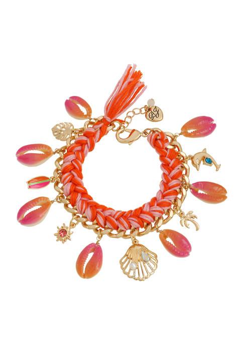 Betsey Johnson Puka Shell Charm Braided Bracelet