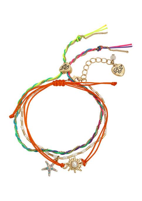 Betsey Johnson Starfish Charm Friendship Bracelet Set