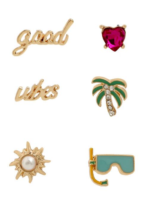 Betsey Johnson Good Vibes Single Stud Earrings Set