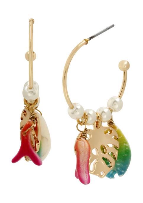 Betsey Johnson Mixed Charm Hoop Earrings