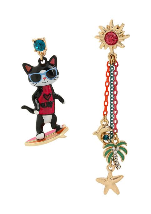 Surfing Cat Mismatch Earrings