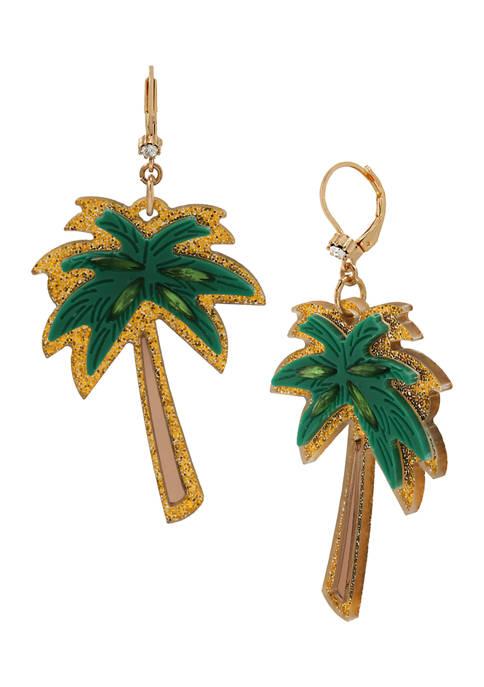 Betsey Johnson Palm Tree Drop Earrings