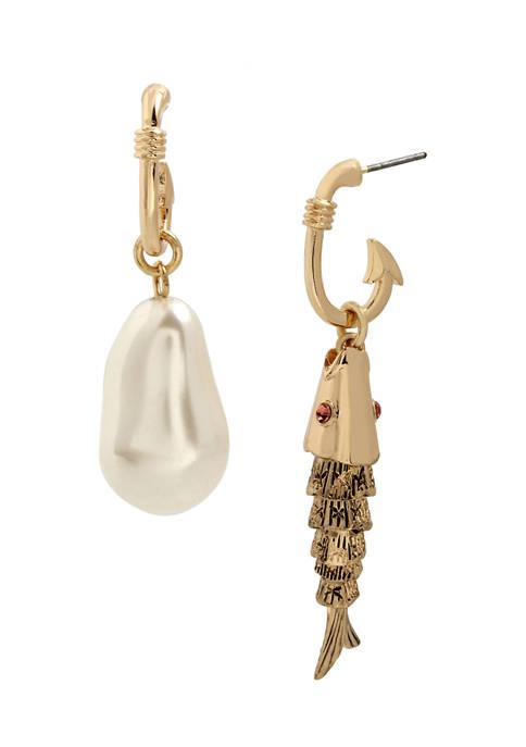 Betsey Johnson Pearl & Fish Mismatch Earrings