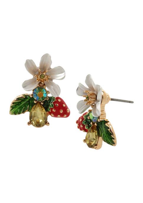 Betsey Johnson Strawberry Cluster Earrings