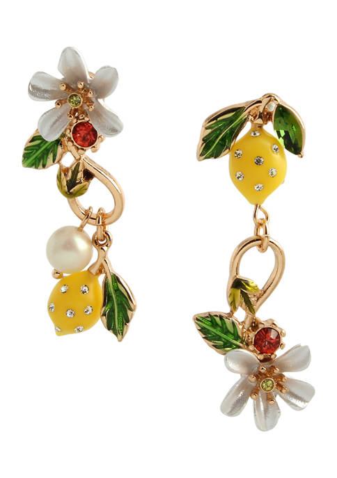 Betsey Johnson Lemon Mismatched Earrings